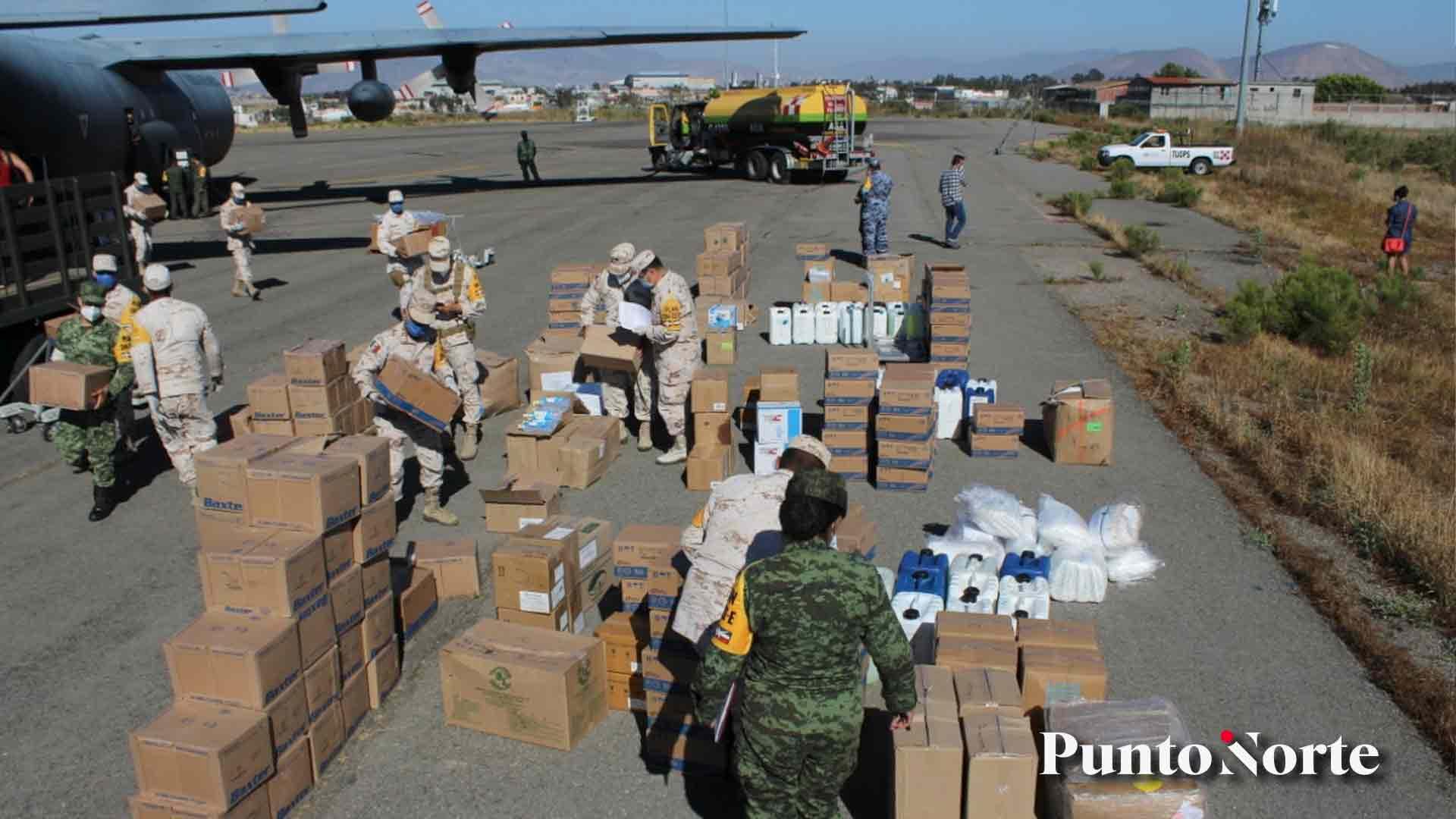 Sedena traslada 6 toneladas de equipo médico a Baja California